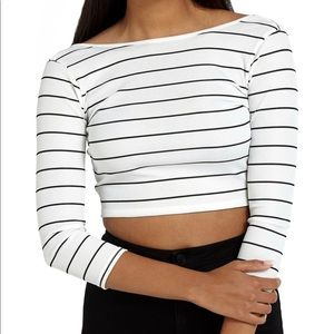 Missguided Ribbed Cropped Tee
